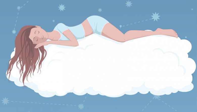 Cartoon of woman sleeping on a cloud